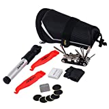 SAHOO 6 in 1 Bicycle Bike Repair Tools Tail Pouch Bag Includes Tire Spanners Inflator Screw-drivers Patching Pads Gloves Rasp