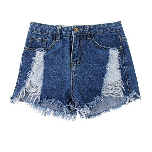Short Jeans pour Denim fonc Femme Taille D Haute DOLITY bleu Short en n4qYwOp