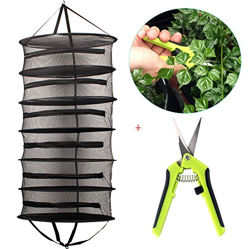 Casolly Collapsible 2-Ft 6-Layer Hanging Dry Net Black Mesh with Zipper,A Portable Gardening Scissors Included (Dry Net)