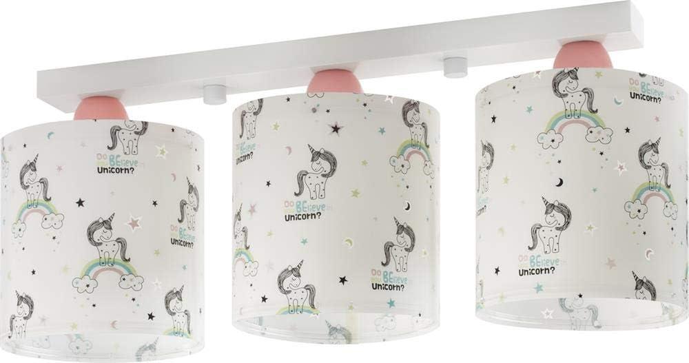 Dalber Unicorns Lámpara infantil colgante con 3 luces, Multicolor