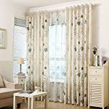 pureaqu Rustic Room Darkening Semi Blackout Curtains Grommet Top Window Decoration Curtain Panels For Living Room Flower Leaves Pattern Draperies For Kids Children Rom 1 Panel W52 x H84 Inch Review