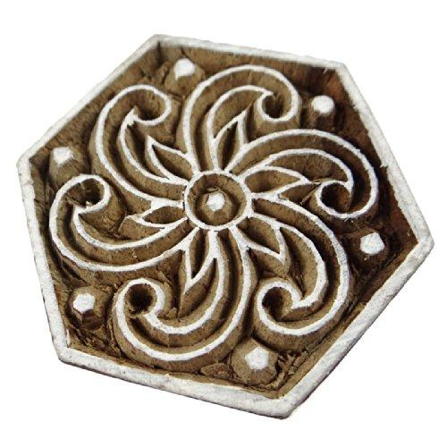 Wooden Textile Block / Stamp Spiral Print Decorative Fabric Handmade Apparel Art