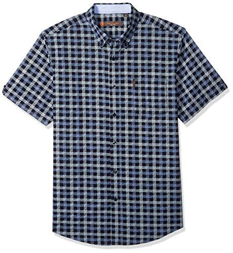 Ben Sherman Men's SS SKTCH CHCK PRNT Shirt, Navy Blazer, XL