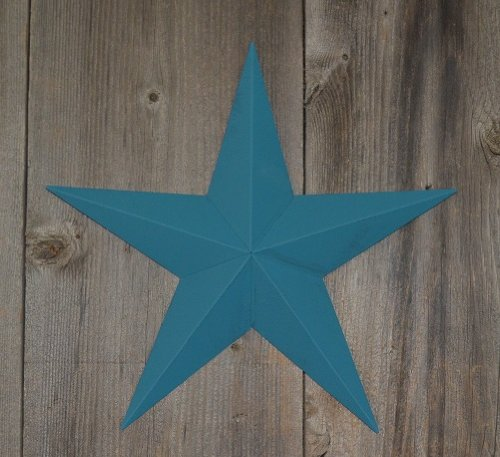 etal Barn Star Painted Solid Colonial Blue. The Solid Paint Coverage Gives the Star a Clean and Crisp Appearance. This Tin Barn Star Measures Approximately 10