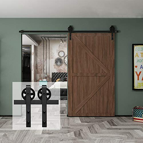 Homlux 8ft Heavy Duty Sturdy Sliding Barn Door Hardware Kit, Single Door-Smoothly and Quietly, Easy to Install and Reusable – Fit 48″ Wide Door Panel, Black-Industrial Big Wheel Hangers