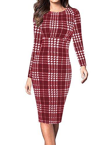 Aecibzo Des Femmes De Manches Longues Coupe Slim Classique Robe Moulante Rouge Midi