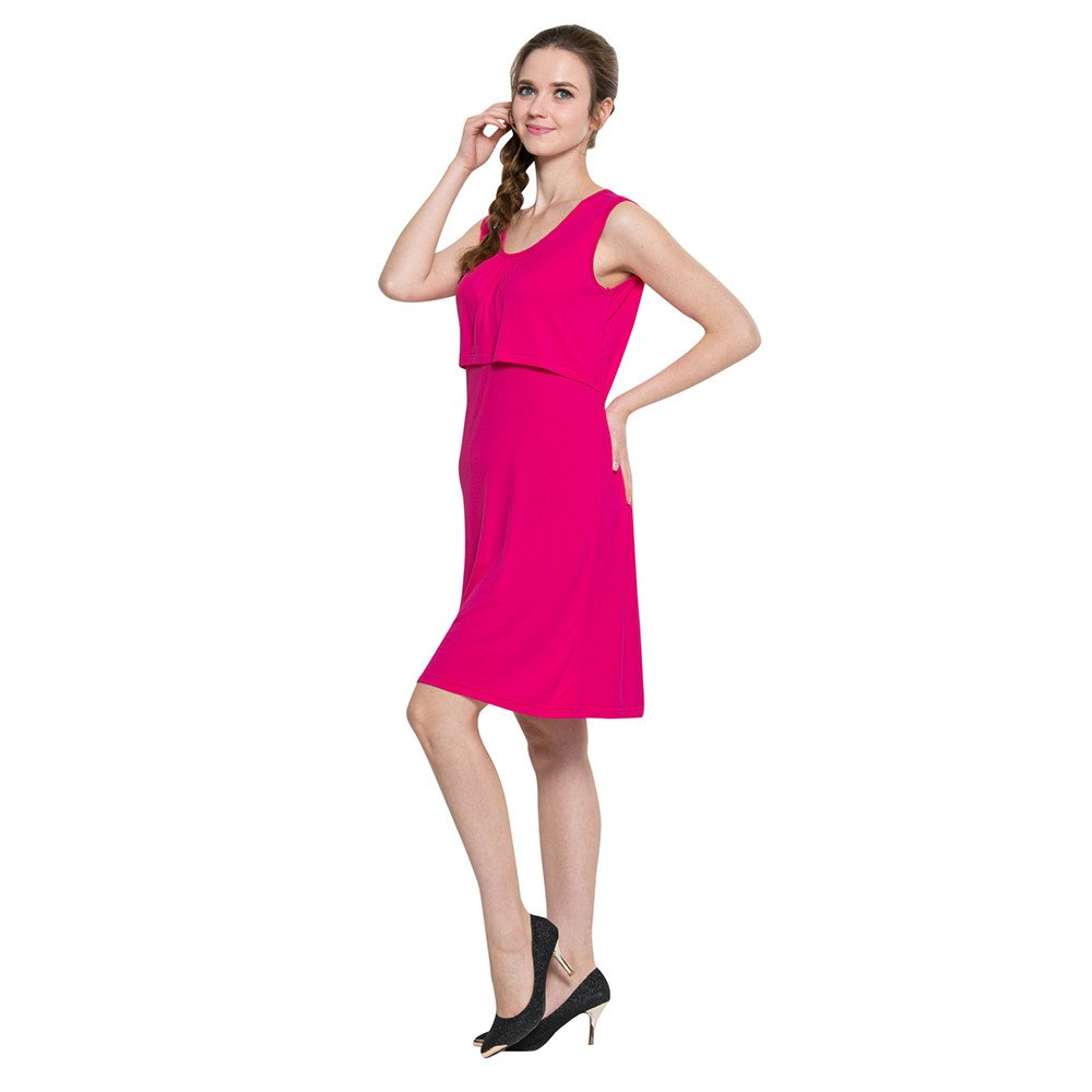 Kirbyates Womens Mother Pregnants Sleeveless Casual Nursing Baby for Maternity Solid Dress Hot Pink