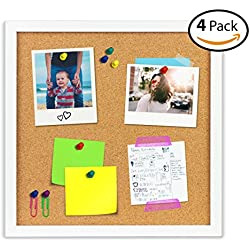 OrgaNice Cork Board / Bulletin Board - 4x Beautifully Framed 12 x 12-Inch Tiles - Reinforced Frame - ZERO Flaking - Start Your Dream Project - Mounting Hardware Included - BONUS 10x Push Pins