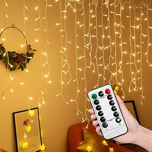 HENGMEI Lichtsnoer met 400 leds, warmwit, met afstandsbediening, 8 verlichtingsmodi, IP44, waterdicht, kerstdecoratie…