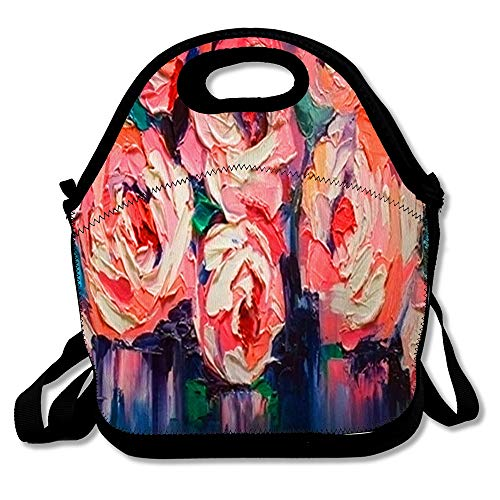 Reusable Soft Lunch Tote Blue Flower Duet Peonies On Smooth Original Nature Large Blur Contemporary Fine Design Insulated Lunch Bag for Women Men and Kids