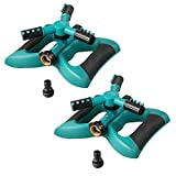 Lawn Sprinkler, Plemo Automatic Garden Water Sprinklers Lawn Irrigation System with Three Arm, Metal Weighted Base, 3600 Square Feet, Different Spray Direction and Rotation 360° (2 Pack)