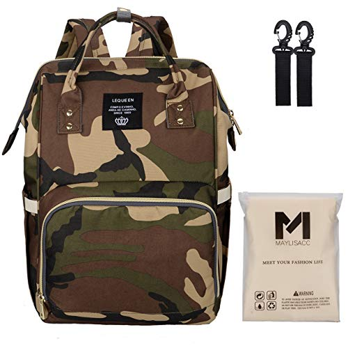 Lequeen Camo Diaper Bag | Mens Women Camouflage Diaper Backpack with Changing Pad and Stroller Straps, Unisex Mom Backpack for Dad Baby Boys ()