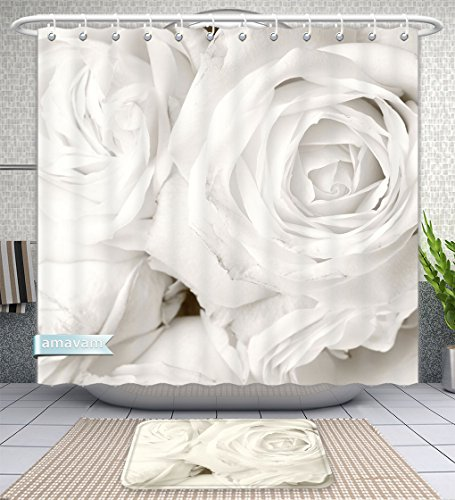 Unique Custom Bathroom 2-Piece Set White Roses In Close Up Romantic Background Shower Curtains And Bath Mats Set, 60