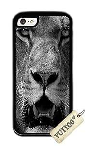 iPhone 5C funda, VUTTOO elegante escala de grises Angry Lioness Funda blanda para Apple Iphone 5C–TPU negro