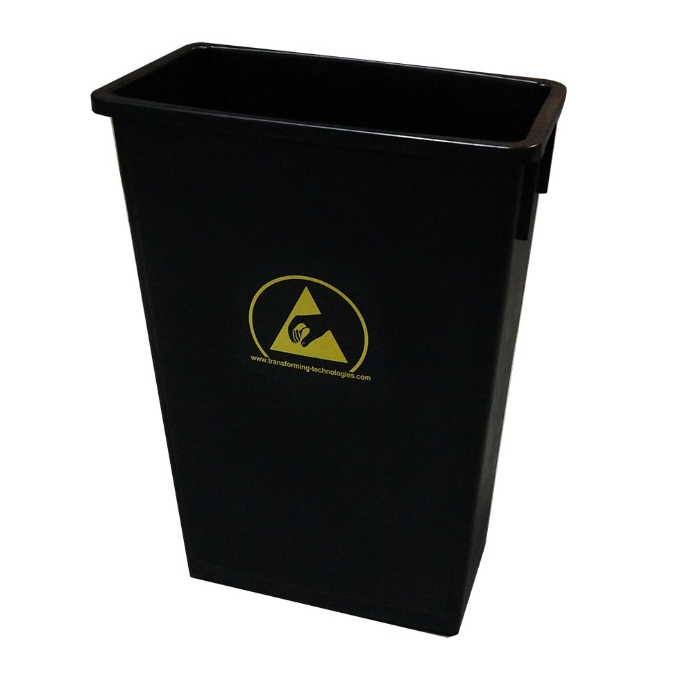 Transforming Technologies ESD Safe Waste Basket, 22 Gallon Black