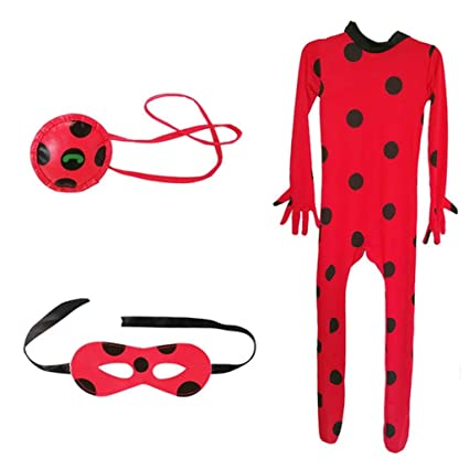 Baipin 3Pcs Disfraz de Ladybug el Mono, un Antifaz máscara y ...