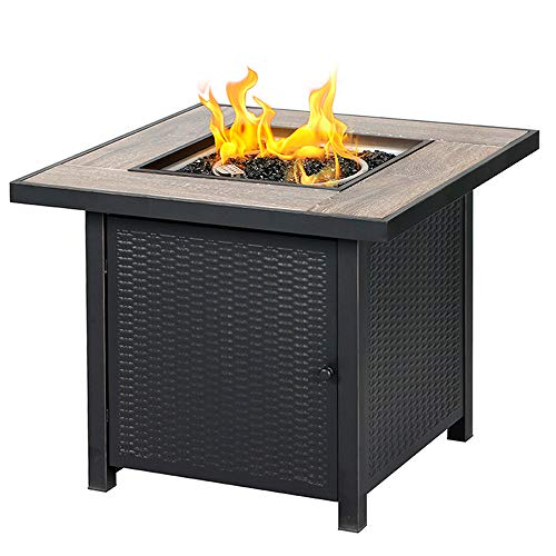 BALI OUTDOORS Propane Gas Fire Pit Table, 30 inch 50,000 BTU Square Gas Firepits with Fire Glass for Outside (Fire Designs Pits Gas Outdoor)