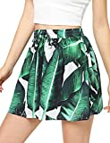 Floerns Women's Tie Bow Floral Print Summer Beach Elastic Shorts Green-1 L