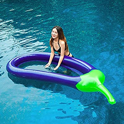 Aegilmc Purple Eggplant Swimming Pool Loungers, Outdoor Water Inflatable Ride-ons Beach Toys, Fun Pool Rafts Vegetables Air Sofa Swim Ring for Adult and Kids by Aegilmc
