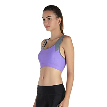 Daeou Sujetador deportivo mujer No llantas deportivas sujetador ropa interior para a prueba de choques transpirable