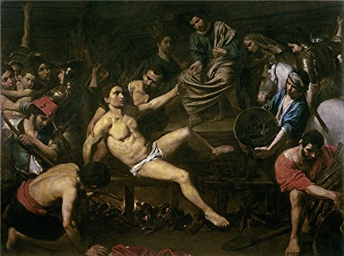 Mini Boulogne - 'Boulogne Valentin De The Martyrdom Of Saint Laurence ' Oil Painting, 16 X 21 Inch / 41 X 54 Cm ,printed On High Quality Polyster Canvas ,this Replica Art DecorativePrints On Canvas Is Perfectly Suitalbe For Basement Decor And Home Decoration And Gifts