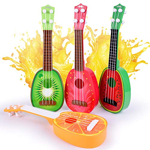 BeesClover Children Lifelike Plastic Guitar Musical Kids Instruments Baby Music Toys Creative Fruit Modeling Toy Ukulele Musical Instrument Guitar One Size by BeesClover