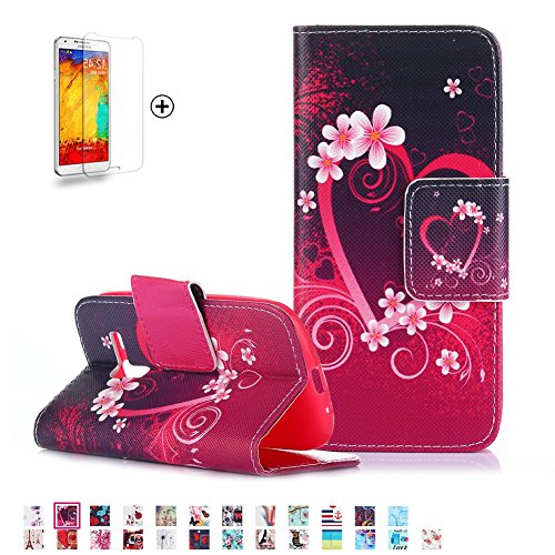 Samsung Galaxy S3 Mini i8190 Case [with Free Screen Protector], Funyye PU Leather Flip Wallet Magnetic Detachable Stand Protective Case Cover for Samsung Galaxy S3 Mini i8190 - Love hearts - Protector Mini Screen I8190