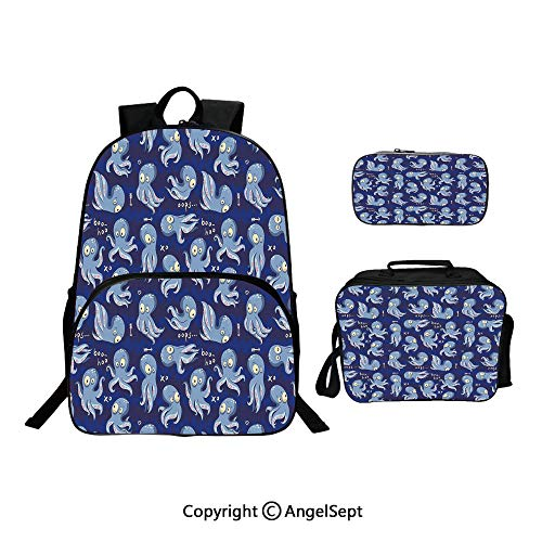 School Backpack With Lunch Bag Pencil Bag One Set,Cartoon Style Comical Animals Funny Drawing of Ocean Inhabitants Underwater Theme Multicolor,Lightweight Laptop Bag For Teen Boys And Girls