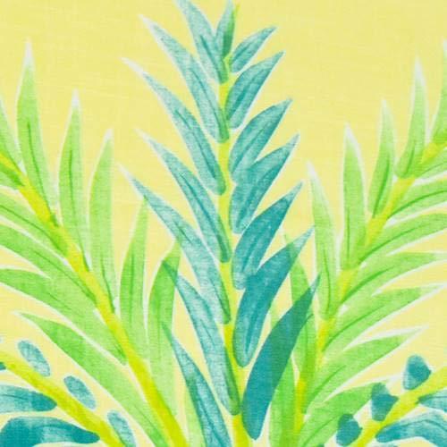 Yellow/Green/Multi Palm Tree Stripe Print Linen Decor Fabric, Fabric by The -