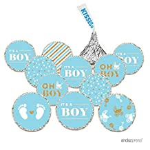 Andaz Press Chocolate Drop Labels Trio, Fits Hershey's Kisses, Ultimate Boy Baby Shower Collection, Baby Blue and Gold Glitter, 216-Pack