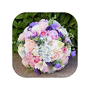 mamamoo 2019 Beautiful Romantic Wedding Bouquet Handmade Simulation Rose Green Leaves Bridesmaid Bridal Bride Colorful Holding Flowers 56