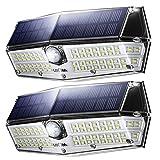 LITOM Urgraded 66 LED Solar Lights Outdoor, IP66 Waterproof Wireless Solar Motion Sensor Lights(White Light), 270°Wide Angle, Easy-to-Install Security Lights for Front Door, Yard, Garage, Deck-2 Pack