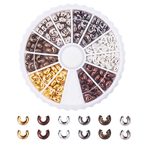 PandaHall Elite About 250 Pcs Brass Crimp Beads Covers Cord End Caps 5x4mm for Jewelry Making 6 Colors