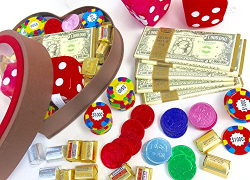 Birthday Gift, Gambler's Large heart, Includes 10 Hershey Chocolate Nuggets, 5 Million Dollar Bars, 12 Chocolate Poker Chips, Multi Color Gold Chocolate Coins and Two Plush Dice.
