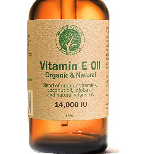 Vitamin E Oil Organic and Natural Highest Quality Organic Vitamin E Oil d-alpha-tocopherol, Organic Coconut Oil, Organic Jojoba, Natural Vitamin C. 15 millaliter