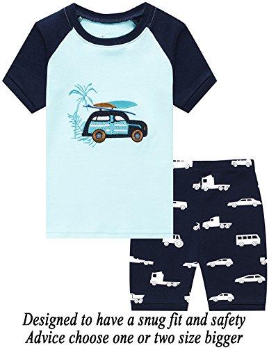 Cars Short Set - Boys Pajamas 100% Cotton Car Short Set Toddler Clothes Kids Pjs Sleepwear 4T