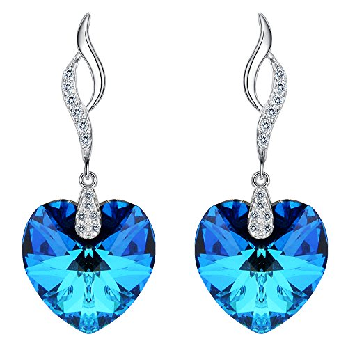 EleQueen 925 Sterling Silver CZ Love Heart Leaf Ribbon Drop Earrings Bermuda Blue Made with Swarovski Crystals - Ring Crystal Bermuda