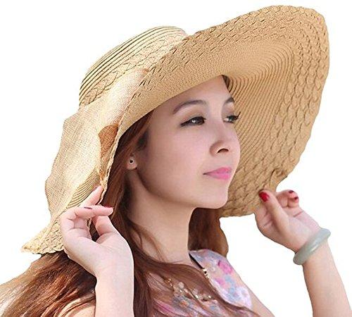 Women Large Wide Brim Floppy Beach Sun Visor Shade Straw Hat Cap Khaki