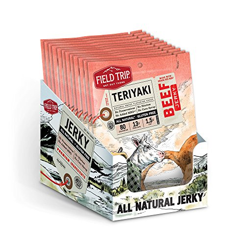 Field Trip Gluten Free, High Protein, Teriyaki Beef Jerky, 1oz Bag, 12 Count 1 Oz Beef Jerky