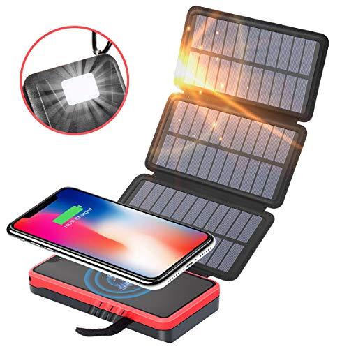 Solar Charger,Soxono Qi Wireless Portable Power Bank 20000mah with 3 Solar Panels Flashlight Dual 5V/2.1A USB Ports Waterproof External Battery Pack Compatible with Smartphones, Tablets, etc (5000 Power Bank Solar Mah)