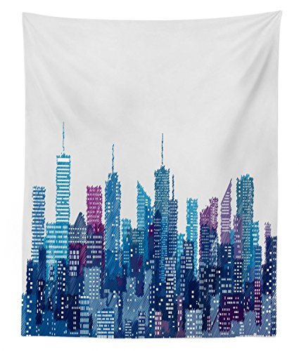 Lunarable New York Tapestry Twin Size, Skyline of NYC Manhattan Brooklyn Bronx Queens Scratched Pattern, Wall Hanging Bedspread Bed Cover Wall Decor, 68