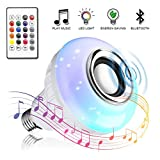 Bombilla LED inteligente, Vagalbox foco RGB E27, Altavoz, Bluetooth inalámbrico, Color regulable, Luz colorida, Control remoto, Reproductor de audio (12 colores)