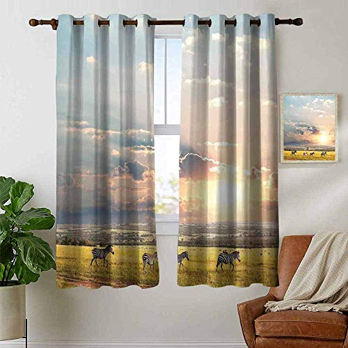 petpany Blackout Curtains Safari Decor,Zebras Africa Exotic Wildland Natural Distant Forest Morning View Scenic Picture Print,Thermal Insulated Panels Home Décor Window Draperies for Bedroom ()
