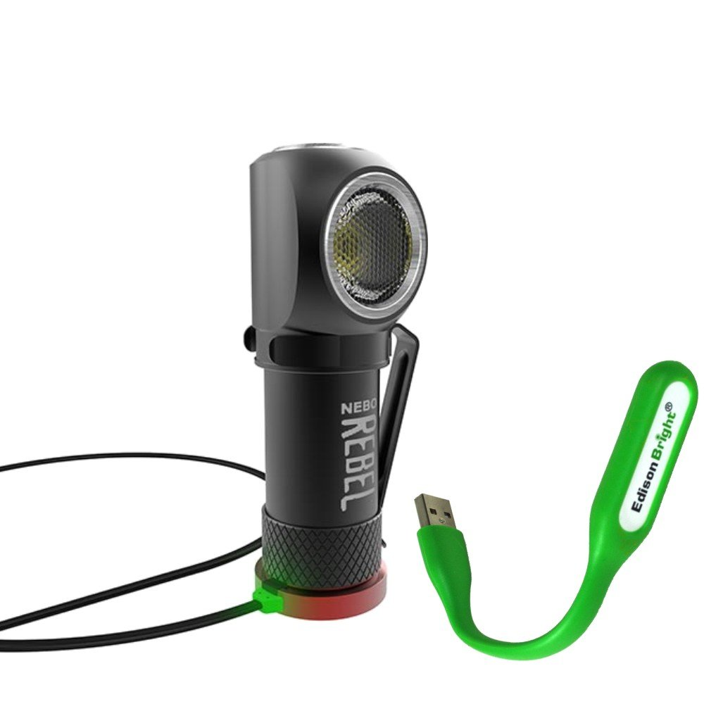Nebo Rebel 240 lumen LED headlamp/work light 6691 USB rechargeable with magnetic base, with EdisonBright USB powered reading light bundle by EdisonBright (Image #1)