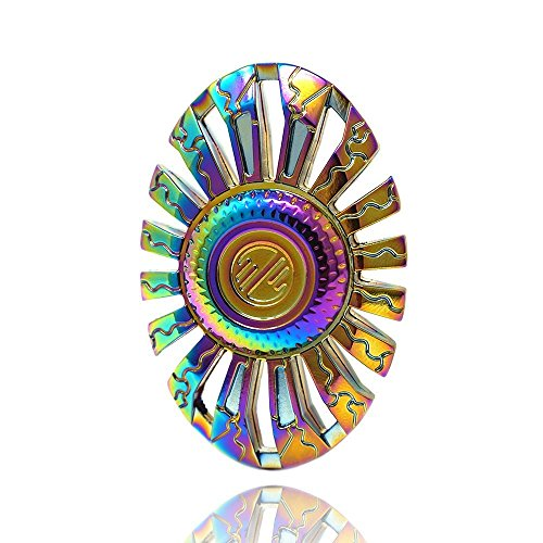 Fidget Spinner, Spinning Fidget Toy, made with Durable Zinc Alloy. A Hand Spinner, Stress Reducer, UFO Shape Rainbow Spinner Fidget toy,Great help for Anxiety. By WooCool (Rainbow Color) …