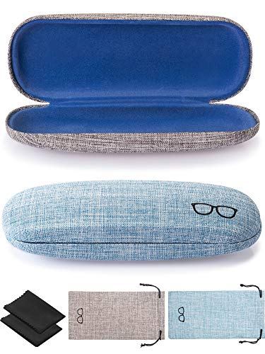 2 Pieces Hard Shell Glasses Case Eyeglasses Case Linen Fabric Case for Eyeglasses and Sunglasses with Glasses Pouch (Blue and Grey)