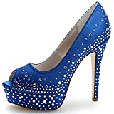 LOSLANDIFEN Womens Peep Toe Rhinestones-encrusted Pumps Satin Platform High Heel Bridal Shoes