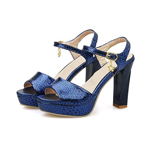Amoonyfashion Donna Open Toe Tacchi Alti In Materiale Morbido Sandali Con Fibbia Color Blu