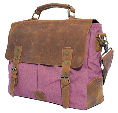 Blueblue Sky Retro Canvas Leather Messenger Briefcase Satchel Handbag Ipad Bag For 13.3 Inch Laptop 6807 (Fuchsia)