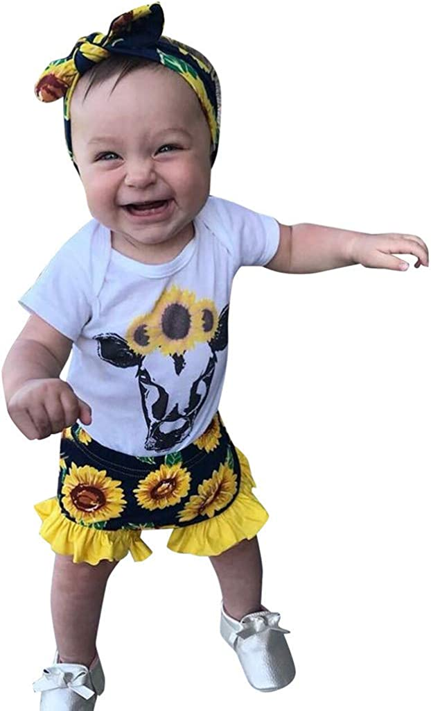BFYOU Toddler Baby Child Short Sleeve Cartoon Cow Print Lace Top + Sunflower Flower Shorts Set (3 Months to 24 Months)